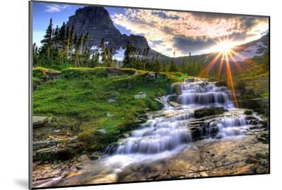 Glacier National Park, Montana - Mt. Reynolds and Sun Rays-Lantern Press-Mounted Premium Giclee Print