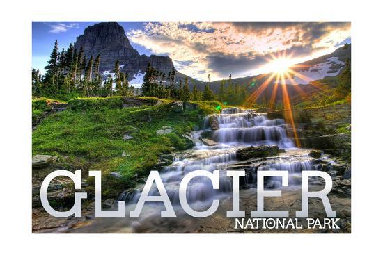 Glacier National Park, Montana - Mt. Reynolds and Sun Rays-Lantern Press-Art Print