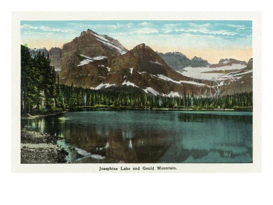 Glacier National Park, Montana, Panoramic View of Josephine Lake and Gould Mountain-Lantern Press-Art Print