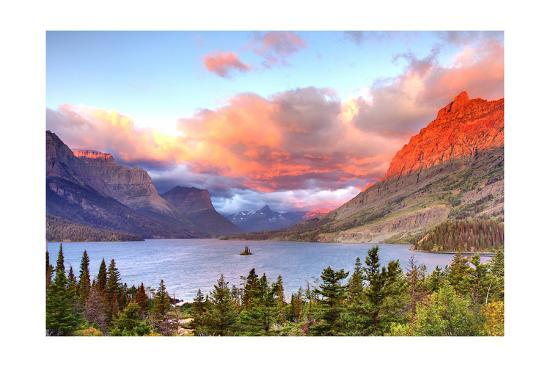 Glacier National Park, Montana - St. Mary Lake and Sunset-Lantern Press-Art Print