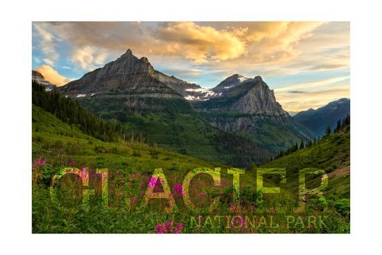Glacier National Park, Montana - Sunset and Flowers (Horizonal Version)-Lantern Press-Art Print