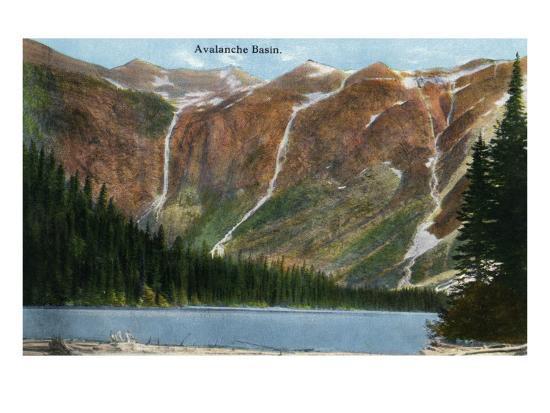 Glacier National Park, Montana, View of Avalanche Basin-Lantern Press-Art Print