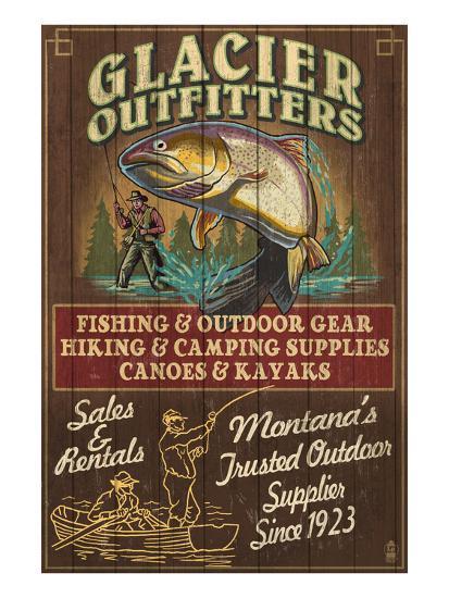 Glacier National Park - Trout Outfitters-Lantern Press-Art Print