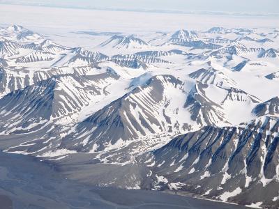 Glaciers and Nunateks of Winsnesfjelle, Torrell Land, Spitsbergen, Svalbard, Arctic, Norway-Tony Waltham-Photographic Print