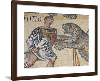 Gladiator Fighting Against a Tiger, Mosaic Work from Terranova Near Tuscolo--Framed Giclee Print