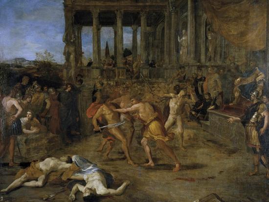 Gladiator Fights-Giovanni Lanfranco-Giclee Print