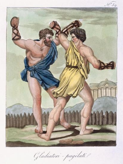 Gladiators, from Antique Rome Engraved by Labrousse, Published 1796-Jacques Grasset de Saint-Sauveur-Giclee Print