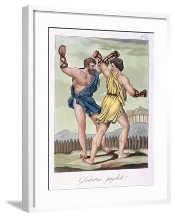 Gladiators, from Antique Rome Engraved by Labrousse, Published 1796-Jacques Grasset de Saint-Sauveur-Framed Giclee Print