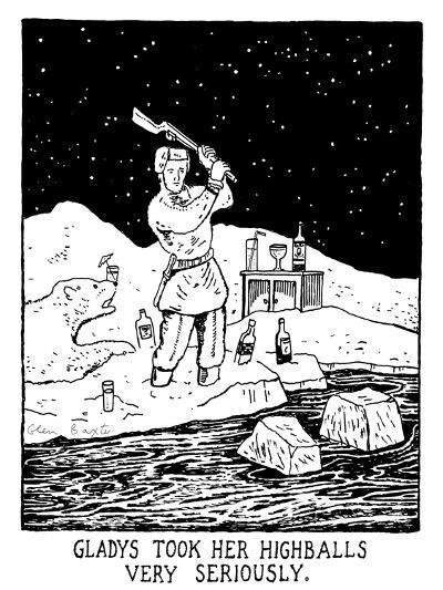 Gladys Took Her Highballs Very Seriously. - New Yorker Cartoon-Glen Baxter-Premium Giclee Print
