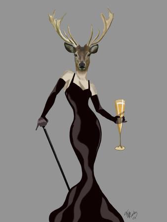 Glamour Deer in Black-Fab Funky-Art Print