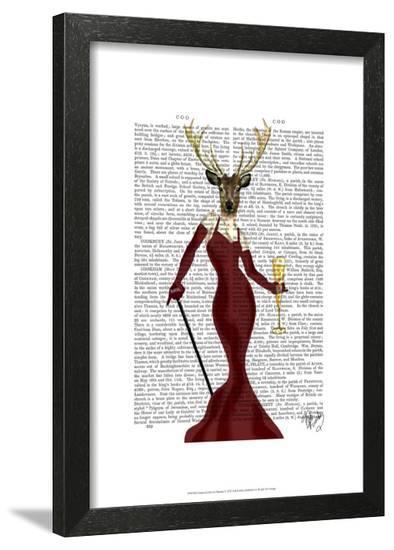 Glamour Deer in Marsala-Fab Funky-Framed Art Print