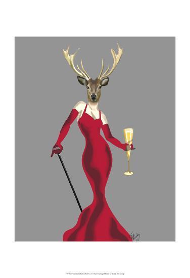Glamour Deer in Red-Fab Funky-Art Print