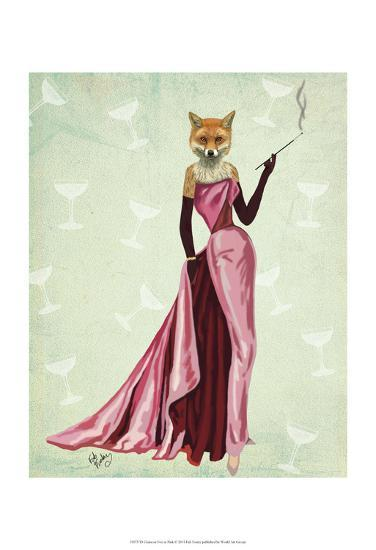 Glamour Fox in Pink-Fab Funky-Art Print