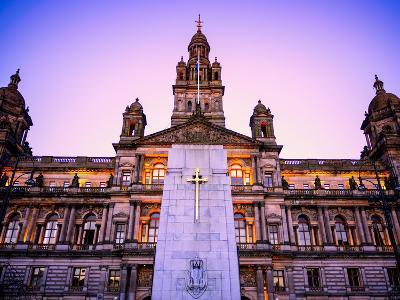 Glasgow City Chambers at Sunset, Glasgow, Scotland, United Kingdom, Europe-Jim Nix-Photographic Print