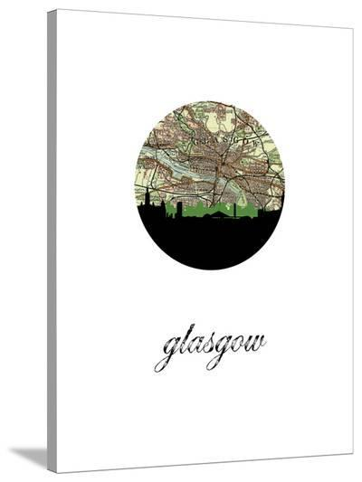 Glasgow Map Skyline-Paperfinch 0-Stretched Canvas Print