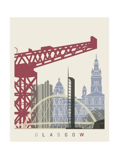 Glasgow skyline poster art print by paulrommer art.com