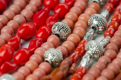 Glass and Silver Bead Necklaces, Otavalo Market, Quito, Ecuador-Cindy Miller Hopkins-Photographic Print