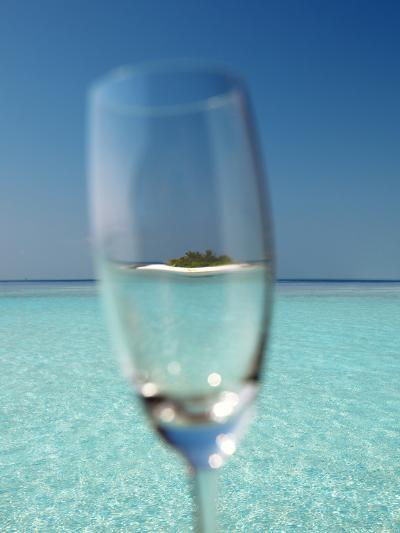 Glass and Tropical Island, Maldives, Indian Ocean, Asia-Sakis Papadopoulos-Photographic Print