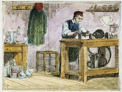 Glass Cutter Decorating Table Ware on a Carborundum Wheel, 1867--Giclee Print