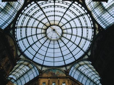 Milan Italy photography wall art Black and white architecture photo print Italian design art Milan gallery dome ceiling In Galleria
