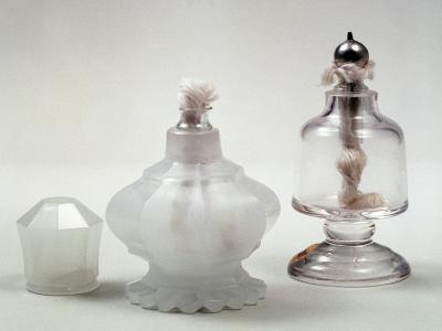 Glass Fragrance Lamp in Engraved Alabaster Glass with Metal Frame--Giclee Print
