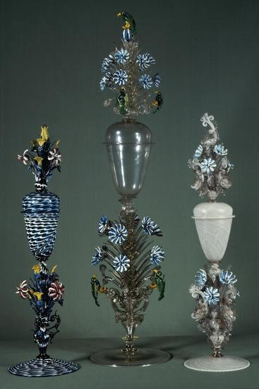 Glass Goblets with Lid and Decorated with Flowering Branches in Polychrome Enamel--Giclee Print