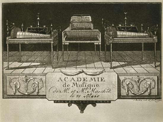 Glass harmonicas and keyboard chimes; engraving from the first half of the nineteenth century-Unknown-Giclee Print
