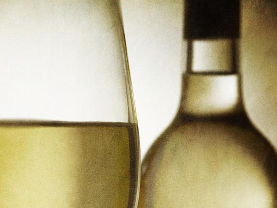 Glass of White Wine and Bottle-Steve Lupton-Photographic Print