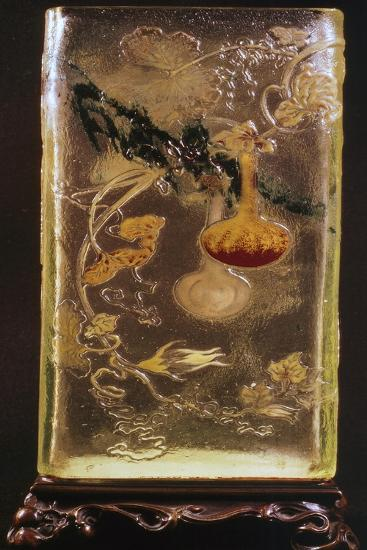 Glass Vase with Transparent Cinesizzanti Motifs and Relief-Emile Galle-Giclee Print