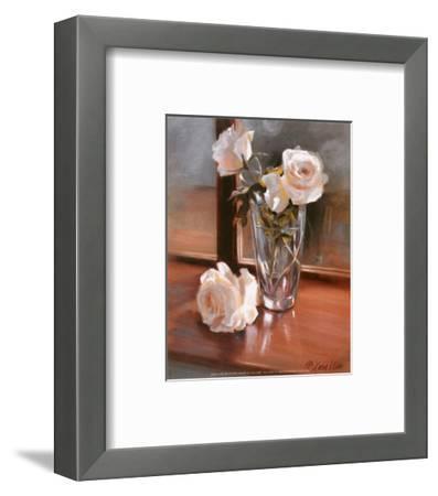 Glass Vase with White Roses-Jan McLaughlin-Framed Art Print