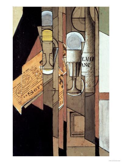 Glasses, a Newspaper and a Bottle of Wine-Juan Gris-Giclee Print