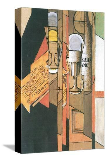 Glasses, Newspaper, and Bottle of Wine-Juan Gris-Stretched Canvas Print