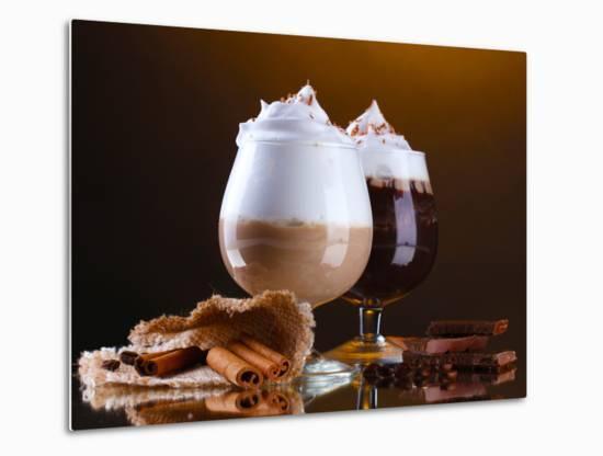 Glasses Of Coffee Cocktail On Brown Background-Yastremska-Metal Print