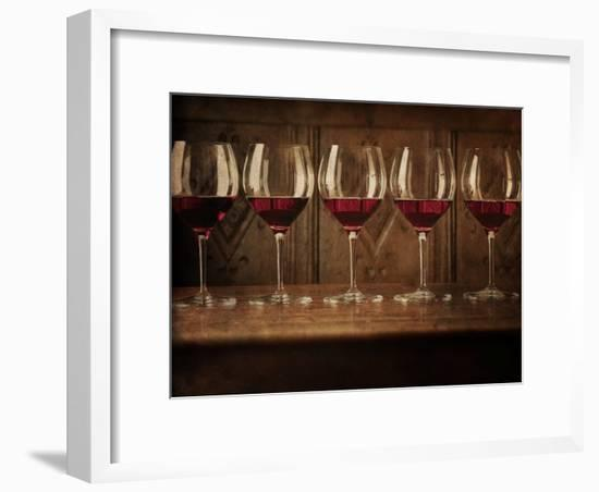 Glasses of Red Wine in a Row-Steve Lupton-Framed Photographic Print