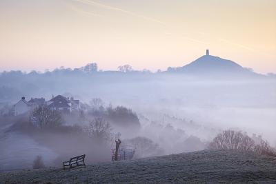 Glastonbury Tor from Wearyall Hill, Somerset, UK-Nick Cable-Photographic Print