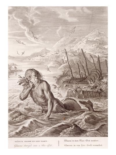 Glaucus Turned into a Sea-God, 1731 (Engraving)-Bernard Picart-Giclee Print