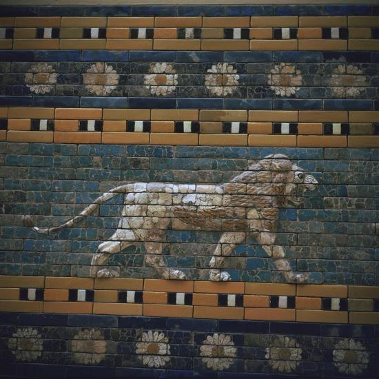 Glazed brick relief of a lion on the Ishtar Gate, 7th century BC Artist: Unknown-Unknown-Giclee Print