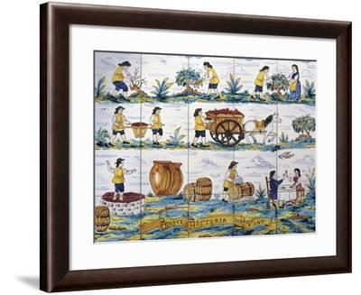 Glazed Tile with Scenes Depicting Work in Vineyard--Framed Giclee Print