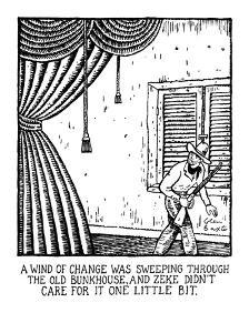 A Wind of Change Was Sweeping Through the Old Bunkhouse, and Zeke Didn't C? - New Yorker Cartoon by Glen Baxter