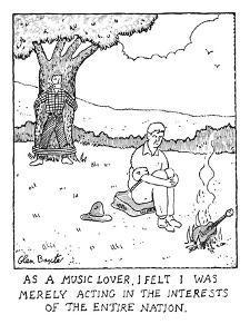 Man burning guitar. - New Yorker Cartoon by Glen Baxter