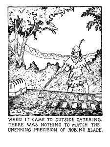 WHEN IT CAME TO OUTSIDE CATERING, THERE WAS NOTHING TO MATCH THE UNERRING ? - New Yorker Cartoon by Glen Baxter