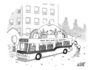 A city bus is seen with a rooftop bubble extension containing two arguing ? - New Yorker Cartoon by Glen Le Lievre