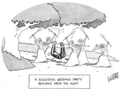 """A Successful Wedding Party Returns From the Hunt"" - New Yorker Cartoon"