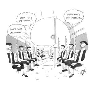 """A whale on a subway full of Captain Ahab-type whalers thinks to himself """"d?"""" - New Yorker Cartoon by Glen Le Lievre"""