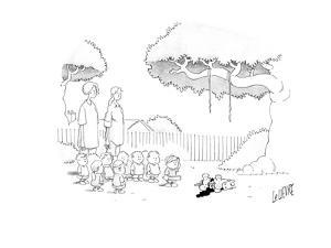 Children and two women stand and watch as a child hits and breaks open wha? - Cartoon by Glen Le Lievre