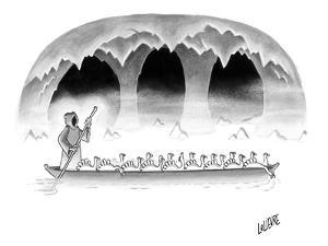 Death takes a group of turkeys through the river Styx. - New Yorker Cartoon by Glen Le Lievre