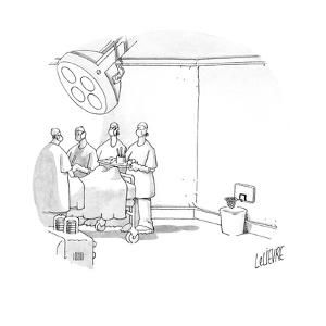 In an operating room there is a basketball hoop above the trash can. - Cartoon by Glen Le Lievre