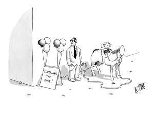 Little girl on a headless horse with a gangster right next to her. - New Yorker Cartoon by Glen Le Lievre