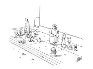 One dog walker with leashed dogs, another walking the dogs at gun point. - New Yorker Cartoon by Glen Le Lievre