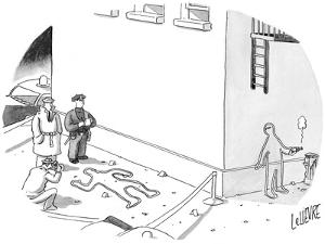 Police at a crime scene with a chalk figure outlined, as another chalk fig… - New Yorker Cartoon by Glen Le Lievre